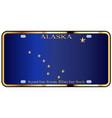 alaska state license plate flag vector image vector image