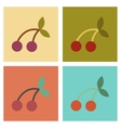 assembly flat icons poker cherry fruit vector image