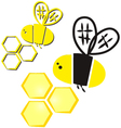 bee and honeycomb vector image vector image