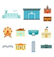 building and architecture cartoon icons in set vector image vector image