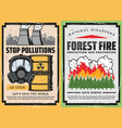 burning forest trees toxic waste and gas mask vector image
