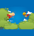 child play in superhero park game character vector image