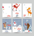 christmas cards set - winter forest vector image vector image