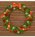 Christmas Wreath on Wooden Board 7 vector image vector image