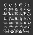 Collection of hand sketched ampersands and