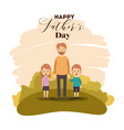 colorful card of landscape with dad and sons on vector image