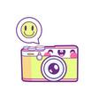 cute camera sticker emoticon vector image