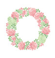 decorative tender rose flower wreath vector image vector image