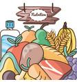 delicious healthy food with nutrition ingredients vector image