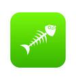 fish bone icon digital green vector image vector image