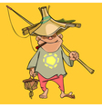 funny cartoon male fisherman in a homemade hat vector image
