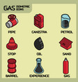 gas color outline isometric icons vector image vector image