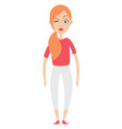 girl in white pants on white background vector image vector image