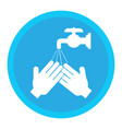 hands under falling water out tap man washes vector image