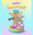 happy friendship day with diverse stacked hands vector image
