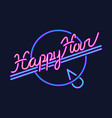 happy hour neon sign design template vector image