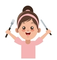 happy little girl holding fork and knife icon vector image