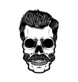 hipster skull with hairstyle design element vector image vector image