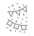 holiday flags garland thin line icon party vector image