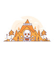 horror cave - thin line design style vector image