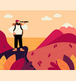 man with backpack and spyglass traveller vector image