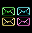 Neon icon colour mail with heart neon mail