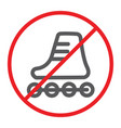 no roller skates line icon prohibited vector image vector image