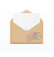 open envelope and white paper vector image vector image
