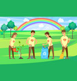people volunteering and cleaning park territory vector image