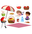 picnic set with happy kids and food on white vector image vector image