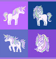 pink cute unicorn sketch set on the purple vector image
