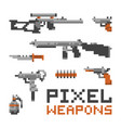 pixel art game style weapons and guns isolated on vector image vector image