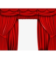 red silk curtain with shadows and pelmet vector image vector image