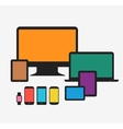 Responsive technology devices mock up vector image