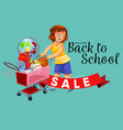 school shopping with mom poster with logo for vector image vector image