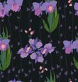 Seamless iris pattern in black vector image vector image