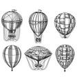 set hot air balloons retro flying vector image