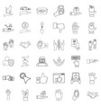 shield icons set outline style vector image vector image