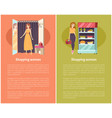 shopping women in grocery store poster vector image vector image