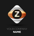 silver letter z logo symbol in the square shape vector image