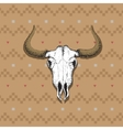 skull bull on old indian cloth vector image vector image