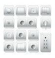 socket electirc outlet light switch and cable vector image