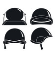 soldier helmet icon set simple style vector image