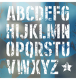Stencil plate sans serif font in military style vector image vector image