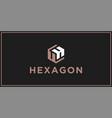 uh hexagon logo design inspiration vector image vector image