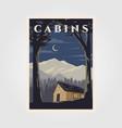 vintage cabins poster design night camp vector image vector image