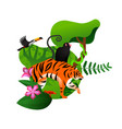 wild jungle animal tiger monkey isolated concept vector image vector image