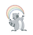 with a cheerful racoon playing with a rainbow vector image