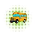 Yellow school bus icon comics style vector image vector image