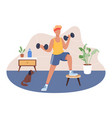 young man working out at home vector image vector image